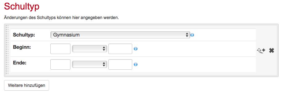 Screenshot Schularchive Wiki: Eingabeformular Schultypen