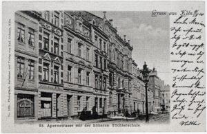 Fotopostkarte: Schugebäude St. Apernstraße mit der höheren Töchterschule
